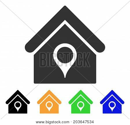 House Location icon. Vector illustration style is a flat iconic house location symbol with black, gray, green, blue, yellow color versions. Designed for web and software interfaces.
