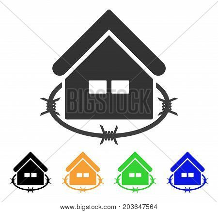 Prison Building icon. Vector illustration style is a flat iconic prison building symbol with black, grey, green, blue, yellow color variants. Designed for web and software interfaces.