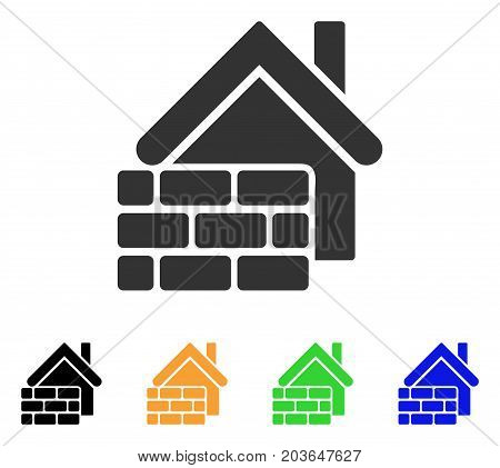 Realty Brick Wall icon. Vector illustration style is a flat iconic realty brick wall symbol with black, gray, green, blue, yellow color versions. Designed for web and software interfaces.