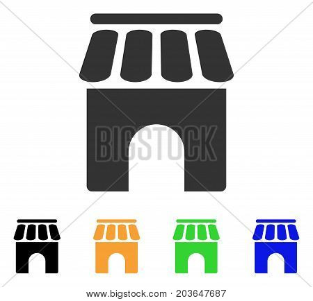 Shop Building icon. Vector illustration style is a flat iconic shop building symbol with black, grey, green, blue, yellow color variants. Designed for web and software interfaces.