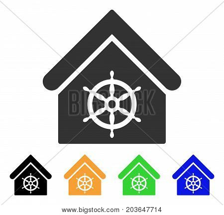 Steering Wheel House icon. Vector illustration style is a flat iconic steering wheel house symbol with black, grey, green, blue, yellow color versions. Designed for web and software interfaces.