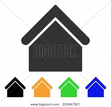Base Building icon. Vector illustration style is a flat iconic base building symbol with black, grey, green, blue, yellow color variants. Designed for web and software interfaces.