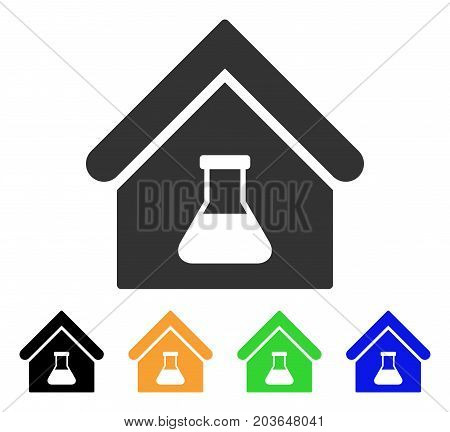 Chemical Labs Building icon. Vector illustration style is a flat iconic chemical labs building symbol with black, grey, green, blue, yellow color versions. Designed for web and software interfaces.