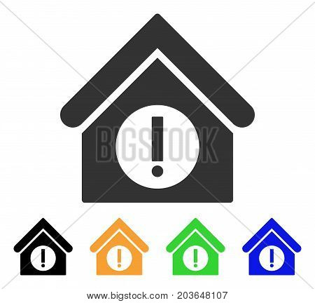 Danger Building icon. Vector illustration style is a flat iconic danger building symbol with black, grey, green, blue, yellow color versions. Designed for web and software interfaces.