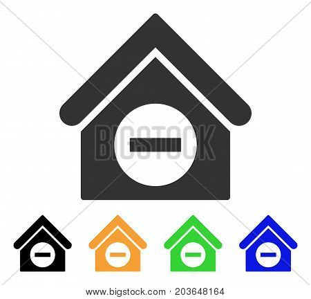 Deduct Building icon. Vector illustration style is a flat iconic deduct building symbol with black, gray, green, blue, yellow color variants. Designed for web and software interfaces.