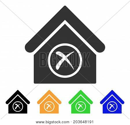 Erase Building icon. Vector illustration style is a flat iconic erase building symbol with black, grey, green, blue, yellow color variants. Designed for web and software interfaces.