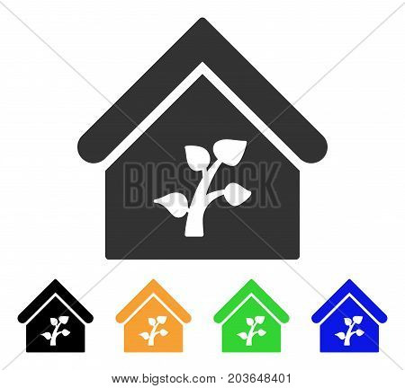 Greenhouse Building icon. Vector illustration style is a flat iconic greenhouse building symbol with black, gray, green, blue, yellow color versions. Designed for web and software interfaces.