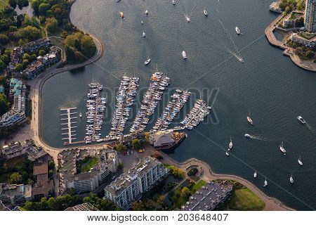 Aerial view on the marina in False Creek Downtown Vancouver British Columbia Canada.