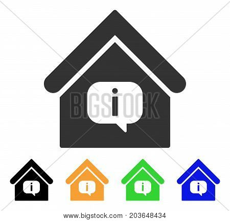 Hint Building icon. Vector illustration style is a flat iconic hint building symbol with black, grey, green, blue, yellow color versions. Designed for web and software interfaces.