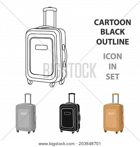 Travel luggage icon in cartoon design isolated on white background. Rest and travel symbol stock vector illustration.