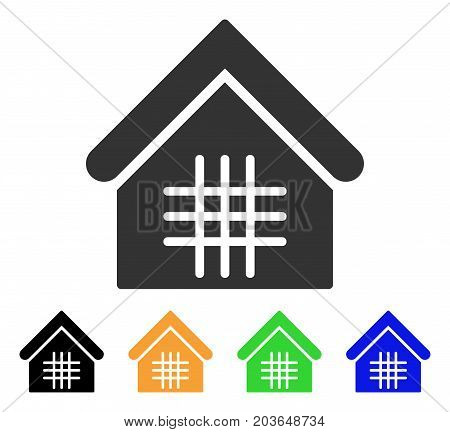 Jail icon. Vector illustration style is a flat iconic jail symbol with black, gray, green, blue, yellow color variants. Designed for web and software interfaces.