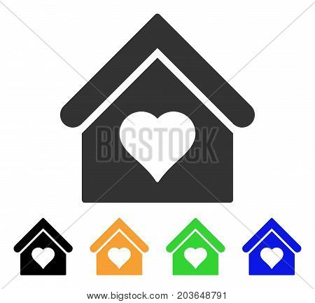 Love House icon. Vector illustration style is a flat iconic love house symbol with black, gray, green, blue, yellow color variants. Designed for web and software interfaces.