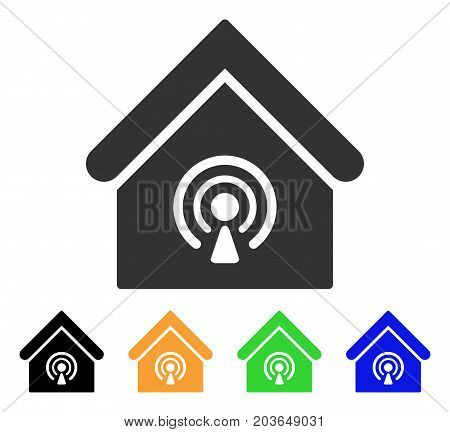 Radio Station icon. Vector illustration style is a flat iconic radio station symbol with black, grey, green, blue, yellow color variants. Designed for web and software interfaces.