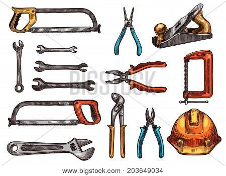 Hand tool isolated sketch set. Spanner, adjustable wrench, pliers, hard hat, saw, wire cutters, jack plane, clamp symbols. Work tool and instrument for carpentry, home repair and construction design
