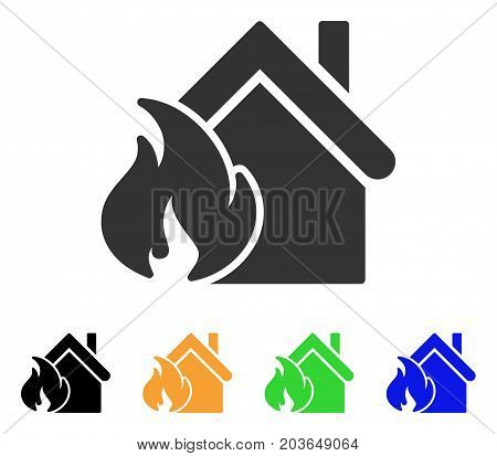 Realty Fire Disaster icon. Vector illustration style is a flat iconic realty fire disaster symbol with black, gray, green, blue, yellow color variants. Designed for web and software interfaces.