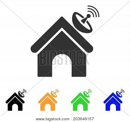 Space Antenna Building icon. Vector illustration style is a flat iconic space antenna building symbol with black, gray, green, blue, yellow color variants. Designed for web and software interfaces.