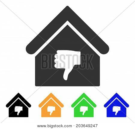 Thumb Down Building icon. Vector illustration style is a flat iconic thumb down building symbol with black, gray, green, blue, yellow color variants. Designed for web and software interfaces.