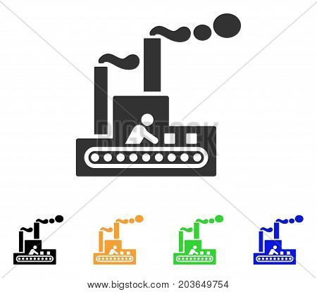Fabric Building icon. Vector illustration style is a flat iconic fabric building symbol with black, gray, green, blue, yellow color variants. Designed for web and software interfaces.