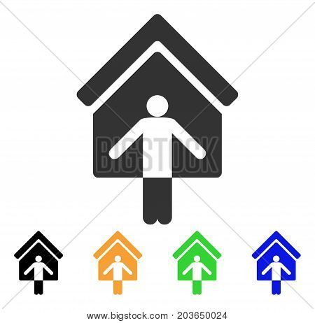 House Owner Wellcome icon. Vector illustration style is a flat iconic House owner wellcome symbol with black, gray, green, blue, yellow color variants. Designed for web and software interfaces.