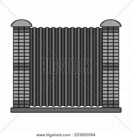 A fence of metal and bricks. A different fence single icon in monochrome style vector symbol stock illustration .