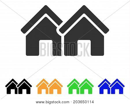 Houses icon. Vector illustration style is a flat iconic houses symbol with black, grey, green, blue, yellow color versions. Designed for web and software interfaces.
