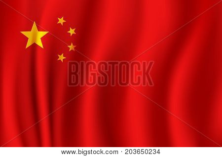 Flag of China as 3d national banner of People Republic of China. Chinese red flag with golden stars symbol for asian history, travel and patriotism design