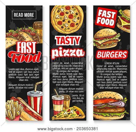 Fast food takeaway lunch with drink banner templates. Hamburger, burger, hot dog sandwich, pizza, fries, soda, coffee, taco, cheeseburger for fast food restaurant menu or delivery flyer design