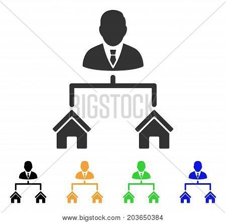 Realty Manager icon. Vector illustration style is a flat iconic realty manager symbol with black, gray, green, blue, yellow color variants. Designed for web and software interfaces.