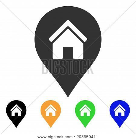 Realty Map Marker icon. Vector illustration style is a flat iconic realty map marker symbol with black, grey, green, blue, yellow color versions. Designed for web and software interfaces.