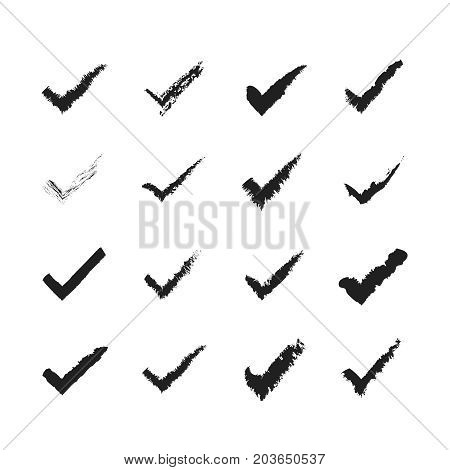 Tick checkmarks flat icons. Hand drawn vector illustration isolated on a white background. Acceptance of voting results. Premium quality.