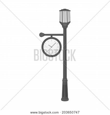 Lamppost with a clock.Lamppost single icon in monochrome style vector symbol stock illustration .
