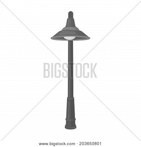 Lamppost with a conic bubble.Lamppost single icon in monochrome style vector symbol stock illustration .