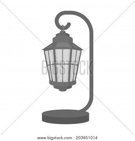Street lights in retro style. Lamppost single icon in monochrome style vector symbol stock illustration .