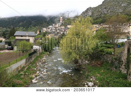 Historic Village Tende And River At The Maritime Alps, France