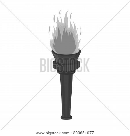 Street lamp in the form of a torch with an open fire.Lamppost single icon in monochrome style vector symbol stock illustration .