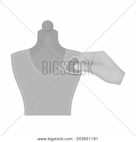 Sewing, marking with chalk on a mannequin. Sewing and equipment single icon in monochrome style vector symbol stock illustration .