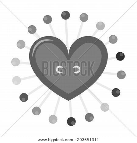 Pad with sewing pins. Sewing and equipment single icon in monochrome style vector symbol stock illustration .
