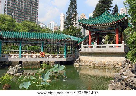 Chinese garden at Wong Tai Sin Temple, Hong Kong