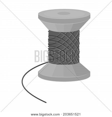 The wooden coil of thread for sewing. Sewing and equipment single icon in monochrome style vector symbol stock illustration .