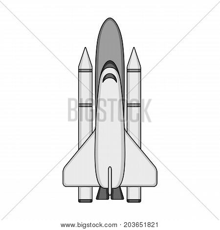 Delivery of the space shuttle.Space technology single icon in monochrome style vector symbol stock illustration .
