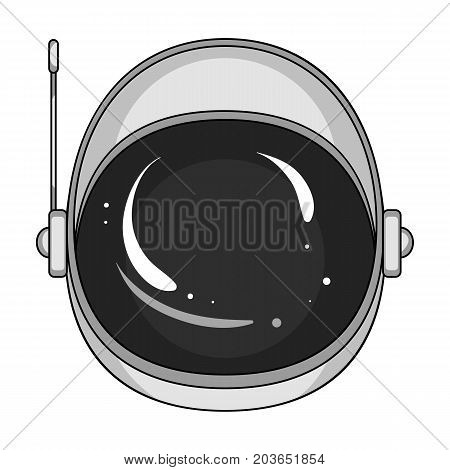 Protective helmet cosmonaut. Space technology single icon in monochrome style vector symbol stock illustration .