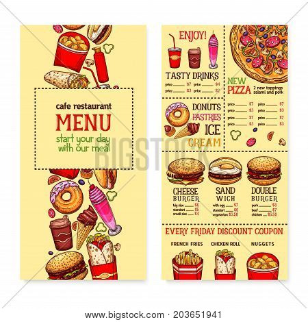Fast food menu banner for restaurant and cafe design. Burger, hamburger, hot dog and pizza with toppings, takeaway soda and coffee drink, donut and ice cream dessert, french fries, burrito sketches