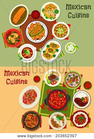 Mexican cuisine dinner dishes set. Beef taco with sauce, stuffed pepper, vegetable with meat and bean, chicken chilli, soup with tortilla chips, grilled burrito with cheese, shrimp salad, meat pie