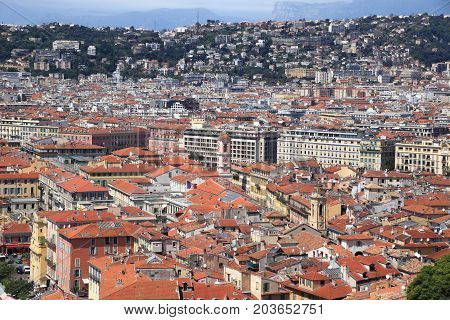 NICE, FRANCE - APRIL 30, 2015: Cityscape of Nice on April 30, 2015 in Nice, France. It is a popular tourist resort on French Riviera.