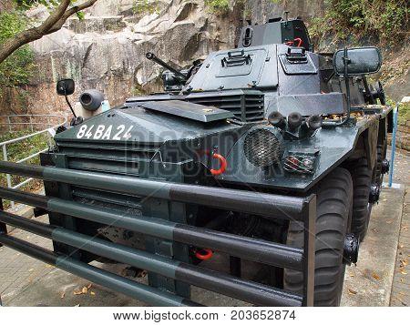 HONG KONG - APRIL 7, 2017: Historic military tank for coastal defence on April 7, 2017 in Hong Kong.