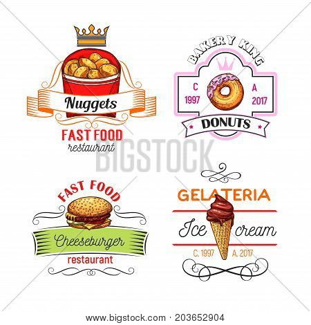 Fast food restaurant, donut shop and ice cream cafe symbols or icons. Cheeseburger, glazed donut, chocolate ice cream cone and chicken nuggets sketch symbol with ribbon banner and crown