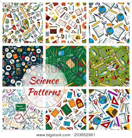 Science and education seamless pattern of supplies, book, pencil and chemistry laboratory research, atom, molecule, physics experiment and test, formula and microscope, DNA and globe, calculator