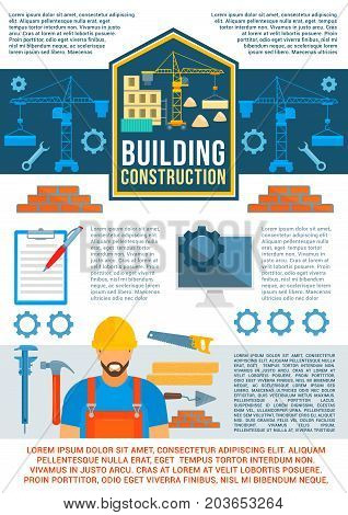 Building construction banner or poster. Construction site poster of crane and builder with work tool, hammer, spanner, trowel and brick wall for construction and development company brochure design