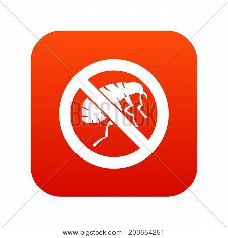 Etching insect icon digital red for any design isolated on white vector illustration