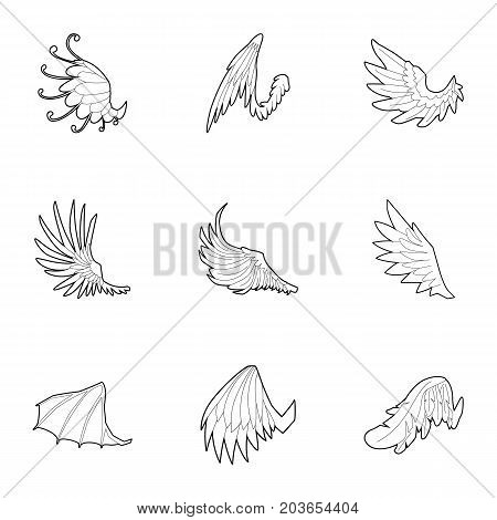 Wings of dragon and griffin icons set. Outline set of 9 wings of dragon and griffin vector icons for web isolated on white background